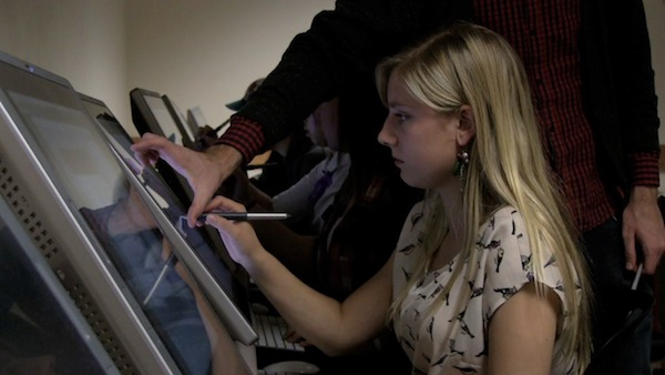 "A BYU animation student works on The Killers' music video ""Christmas in L.A."" (Photo by BYU Photo)"