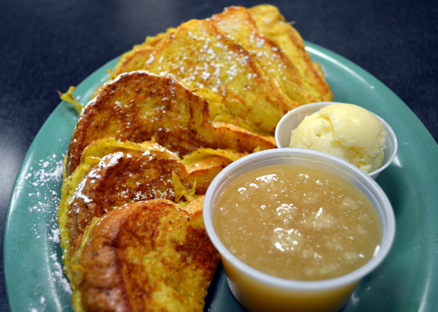 Magleby's eggnog French toast is served with marshmallow honey butter and the Magleby's famous buttermilk syrup.