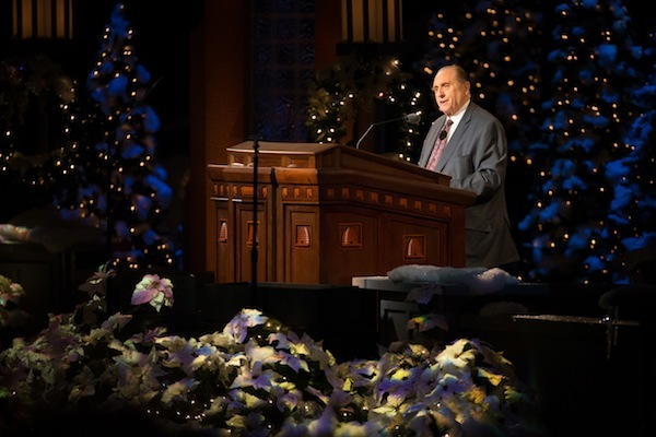 LDS President Thomas S. Monson speaks at last year's First Presidency Christmas Devotional. (Photo courtesy LDS Church)