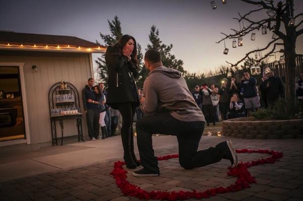 BYU linebacker Kyle Van Noy proposes to Marisa (Photo courtesy Kyle Van Noy's Twitter)