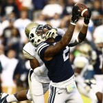 Cody Hoffman makes an over-the-shoulder catch against Georgia Tech on Oct. 12, 2013 at LaVell Edwards Stadium. (Photo by BYU Photo)