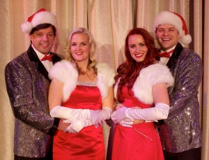 "Michael Carrasco, Julia Jolley, Celeste Childs, and Kristopher Higley bring the holiday favorite ""White Christmas"" to life on the stage of the Lehi Arts Center Dec. 6-16. (Photo courtesy of Lehi Arts Council)"
