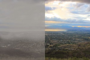 These Air quality comparison as seen from Provo, Utah. Photo courtesy Provo City. (Photo by Brian Nye)