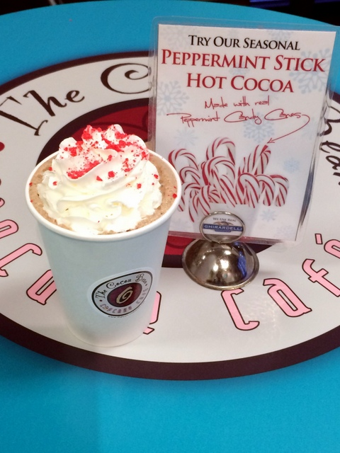 The Cocoa Bean Cupcake Cafe in Provo is now serving its seasonal customer favorite, a peppermint stick hot cocoa.