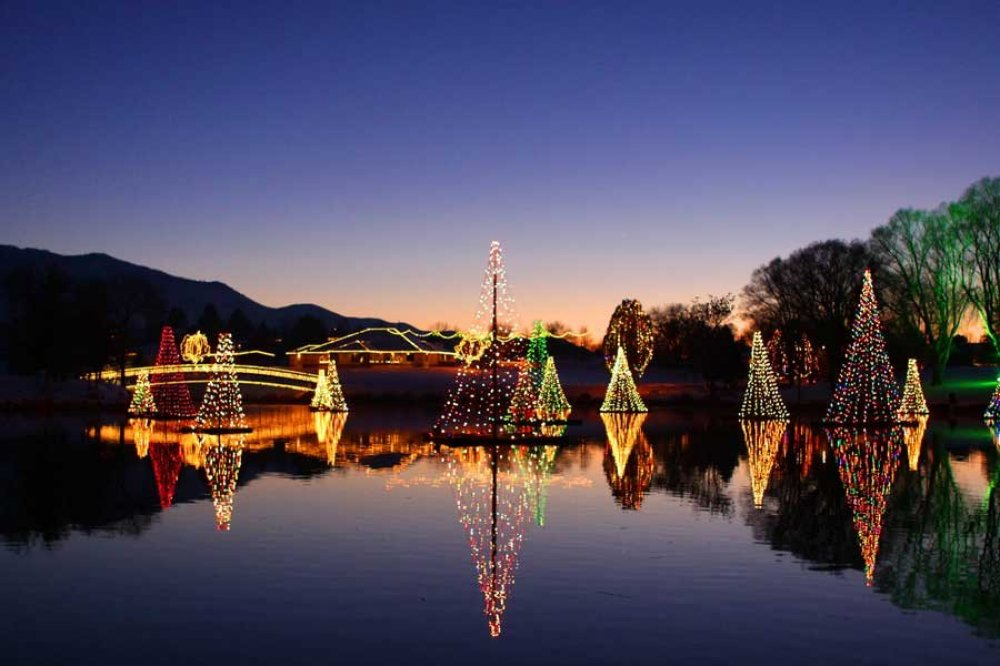 Salem city's Pond Town Christmas is magical display of lights and reflections in the pond.