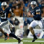 Jamaal Williams (left) and Taysom Hill each rushed for more than 1,000 yards this season. This is the first year a BYU runningback and QB have accomplished the feat in the same season. (Photos by BYU Photo)