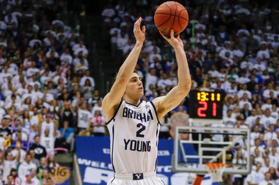 Matt Carlino shoots the ball in a game during the 2013-14 season. Carlino will be transferring from BYU for his senior year.