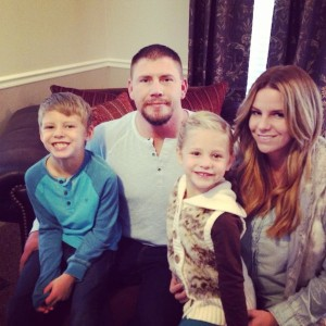 """Joshua Boren (second from left) is suspected of killing four members of his family before taking his own life Thursday. His family (from left to right) includes son Joshua """"Jaden"""" Boren (7), daughter Haley Boren (5) and wife Kelly Boren (32). (Photo courtesy Facebook)"""