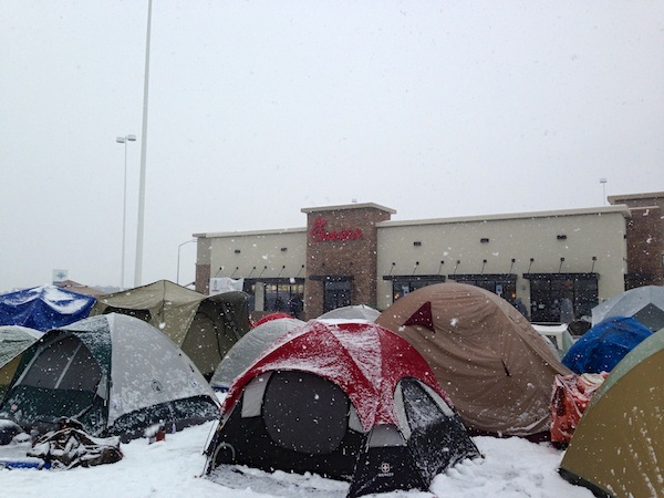 One hundred and thirty-five customers camped outside of Chick-fil-A starting at 6 a.m. Wednesday morning. The new Provo Chick-fil-A officially opens on Thursday, Jan. 9, at 6 a.m. (Photo by Rebecca Lane)