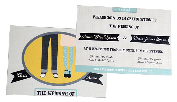 Wedding invitations featuring custom illustrations are popping up everywhere! We love this bold, graphic and memorable design from Pro Digital Photos.
