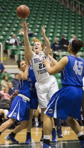 Attacking the basket has always been a big part of Lexi Eaton's game. Photo by Mark Philbrick (BYU Photo)