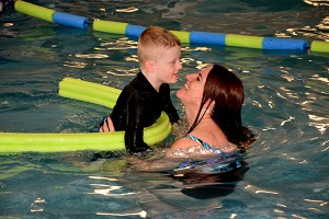 In some cases parents will jump in the pool with their kids, like Becky Fry and her son Bridger, seen here. (Photo by Matt Bennett)