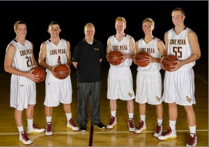 (left to right) Former Lone Peak basketball players Talon Shumway, Nick Emery, Quincy Lewis, (current player) TJ Haws, Conner Toolson and Eric Mika showed great teamwork during the 2012-2013 high school basketball championship winning a national championship. (Photo courtesy LPHS)