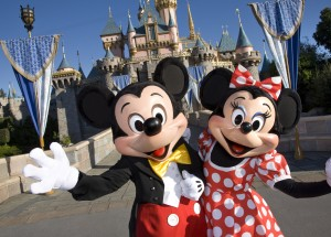 Mickey and Minnie Mouse welcome visitors to Disneyland Resort.