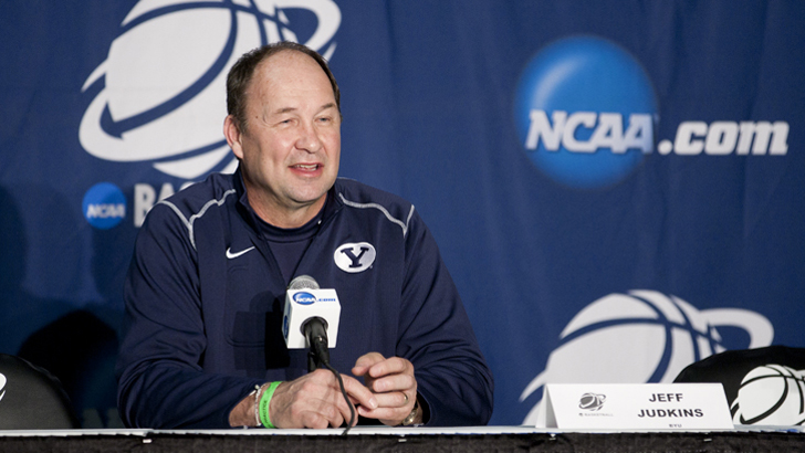 BYU head women's basketball coach, Jeff Judkins, answers questions during the Cougars NCAA appearance in 2012. (Photo by BYU Photo)