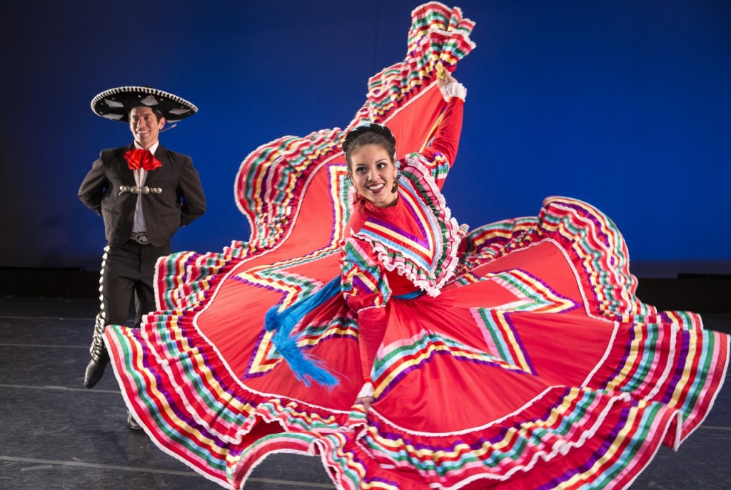 Allan Escobar and Adriana Ampuero, members of BYU's Living Legends, capture the soul of Mexico with their intricate footwork, beautiful dress, and vibrant music in La Negra. (Photo by Mark A. Philbrick)