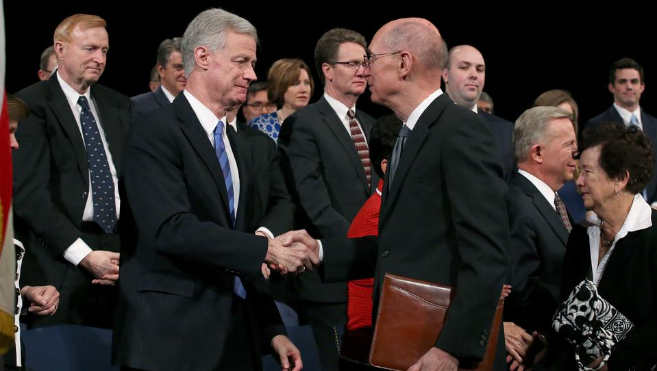 Future BYU president Kevin J Worthen shakes hands with President Henry B. Eyring, LDS First Counselor in the First Presidency, after Worthen was named the new BYU president. (Photo by Matt Bennett)