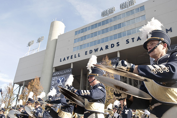 During breaks at football and basketball games, the music is split between the BYU marching band and prearranged popular music over the loudspeaker. (Photo courtesy BYU Photo)