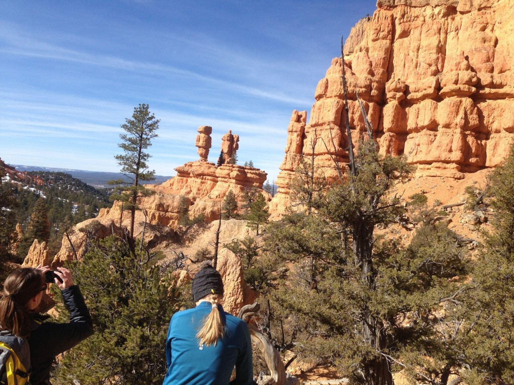 Hikers Elizabeth Stitt, left, and Christina Davis admire the view from the Pink Ledges Trail in Dixie National Forest. (Photo by Christa Woodall)