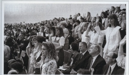 Jeanette Bennett was captured by the Ensign photographer standing with the women during the Solemn Assembly to sustain President Gordon B. Hinckley in April 1995.