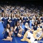 Members of BYU's Cougarettes dance team strike a pose with Cosmo the Cougar at the end of a routine in the Marriott Center. Dancers hoping for a spot on the 2014-2015 team will audition Friday, March 21. (Photo courtesy of Jodi Maxfield)
