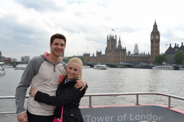 Jimmer and Whitney Fredette's travels have included London, where they saw Big Ben and the Houses of Parliament (shown in the background).