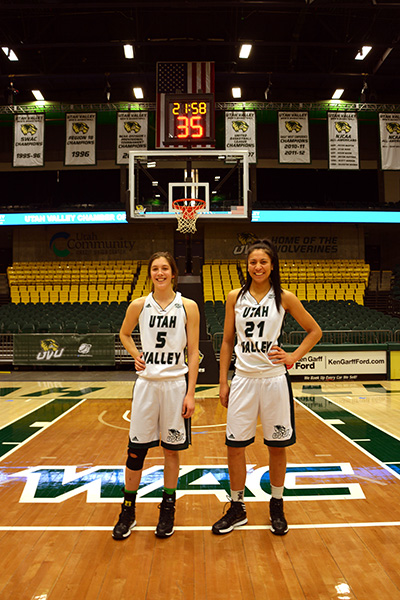 (From left) Georgia Agnew and Rhaiah Spooner-Knight, New Zealand transplants and Utah Valley University basketball players. (Photo by Rebecca Lane)