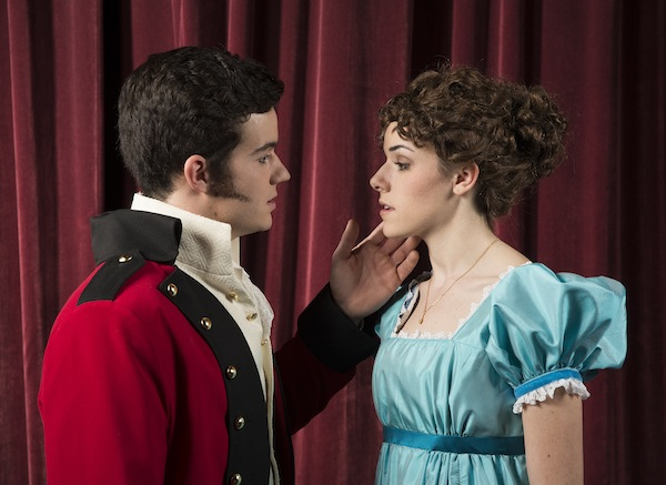 "George Wickham (Matt Kranz) and Elizabeth Bennett (Karli Hall) are part of BYU's production, ""Pride and Prejudice."" (Photo by Jaren Wilkey/BYU Photo)"