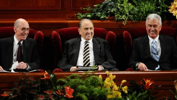 "The First Presidency and Quorum of the Twelve Apostles are sustained every six months as ""prophets, seers and revelators."" (Photo courtesy Mormon Newsroom.)"