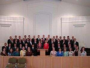 Missionaries in the L'viv Ukraine Mission pose for a photo in July 2013 following the organization of the new mission. (Photo courtesy Kathryn Webber.)