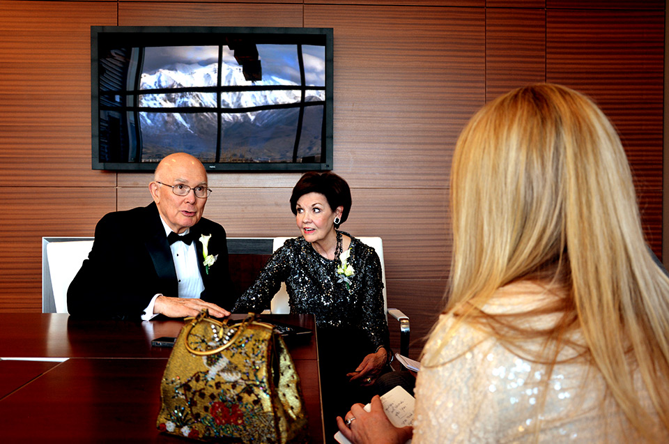 Utah Valley Magazine editor Jeanette Bennett interviews Elder Dallin H. Oaks and his wife Kristen Friday night at the Utah Valley Convention Center.