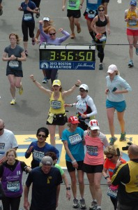 Marianne Bezzant finishes the Boston Marathon last year just minutes before the first bomb goes off. (Courtesy Marianne Bezzant)