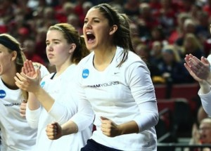 BYU women's basketball players celebrate during the NCAA tournament this year. (Photo courtesy BYU Photo)