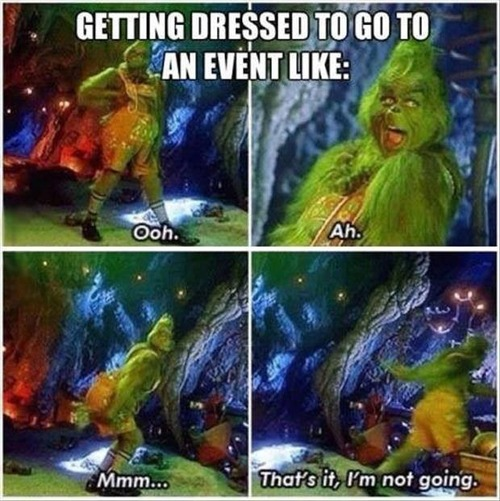 Grinch getting dressed up