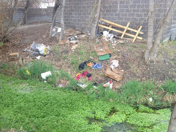 Trash is strewn around the site of a historic saw and grist mill in Provo. A Provo group is organizing a cleanup for the area on Saturday, April 12. (Photo courtesy Provo Municipal Council)