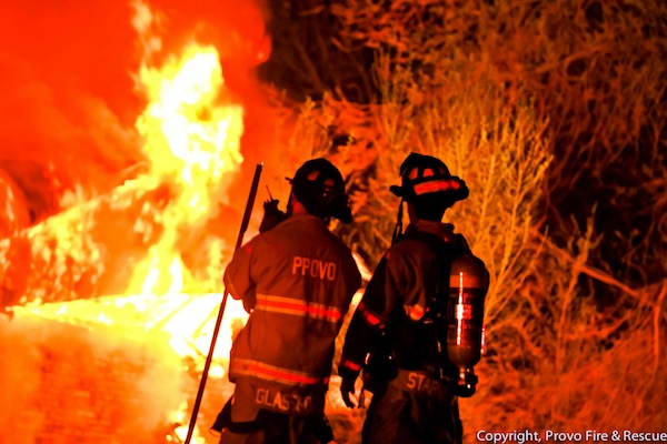 A blaze burned through three unoccupied duplexes in Provo at 4800 N. Edgemont Dr. on Friday, April 11. Officials suspect arson. (Photo courtesy Provo Fire & Rescue)
