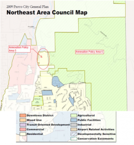 The map shows proposed northeast Provo annexation. The plan as proposed would create an island of unincorporated property owned by the Gillespie family.