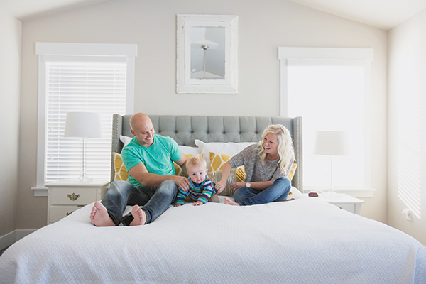 "New homeowners Steve and Allie Vincent are also new parents to baby boy Nixon. Their favorite room in their home is the master bedroom. ""It has great views, plenty of space and a big closet,"" Steve says."