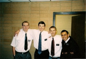 Chad Eckersell, third from left, in the MTC with fellow missionaries Elder Larsen, Elder Burtis and Elder Footracer. Eckersell came home for medical depression two weeks into his mission. (Photo courtesy Chad Eckersell.)