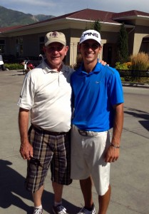 BYU golfer Joe Parkinson with his former mission president, Bruce Summerhays. (Photo courtesy Joe Parkinson)
