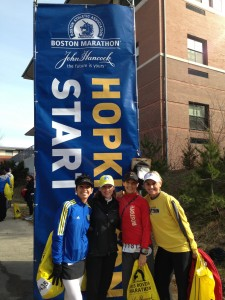 ....pose together before last year's Boston Marathon. Courtesy Kim Cahoon