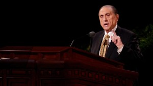 President Thomas S. Monson address Church members during last weekend's general conference. (Photo courtesy Mormon Newsroom.)