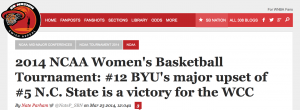 The BYU women's basketball team was featured in many articles by national media, including this article on SBNation.com.