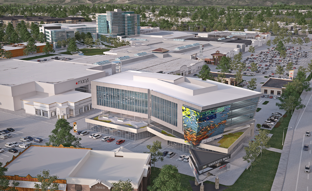 The new look of University Mall from the corner of University Parkway and State Street looking east. Image courtesy Woodbury Corporation.