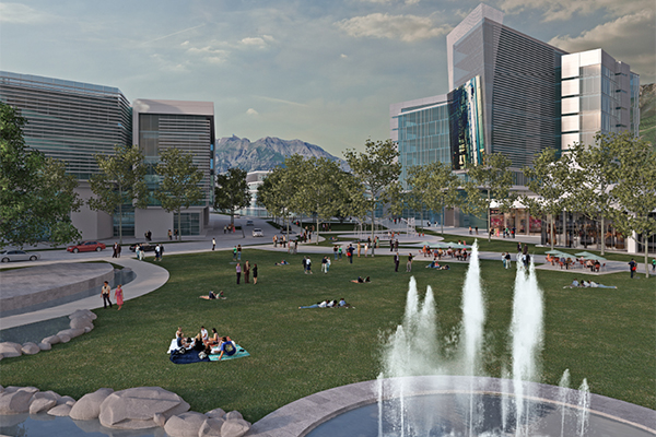As part of the revamped University Mall property there will be a two acre park. Image courtesy Woodbury Corporation.
