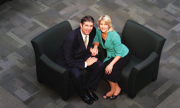Paige Holland smiles with her husband Matthew at Utah Valley University, where he is president. (Photo first published in Utah Valley Magazine)