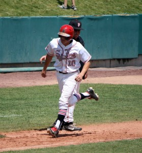 Brady Bate heads home after his second home run for Spanish Fork Thursday. (Photo by Kurt Johnson)