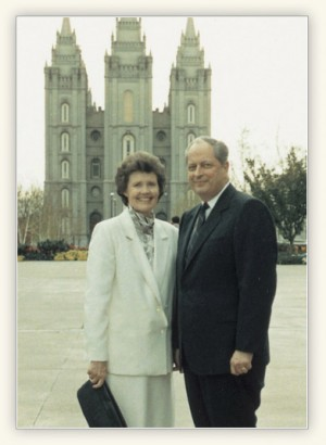 "Elder Hales stands with Mary outside the Salt Lake Temple. His boss once told Elder Hales Mary was his ""greatest asset.""(Photo Courtesy LDS.org)"