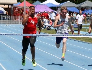 American Fork's Jonah Trinnaman (left) is the 2014 state 100-meter champion and Lehi's Zac Morris won the 200. (Photo by Kurt Johnson)