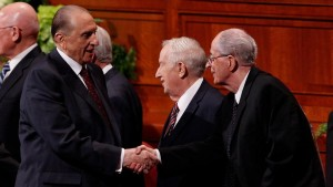 President Thomas S. Monson greets Elder Hales after a session of General Conference. (Photo courtesy Mormon Newsroom.)